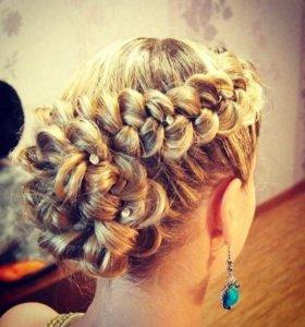 Плетение кос любой сложности. Локоны. Прически.