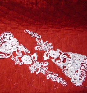 Ажурные свадебные перчатки на шнуровке