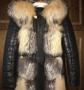 Кожаная куртка с мехом лисы