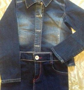 Джинсовые курточка и юбка