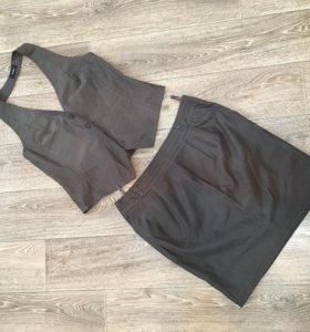 Костюм юбка с желеткой