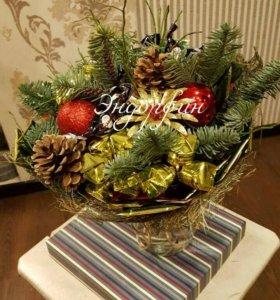 Новогодний подарок,букет,венок