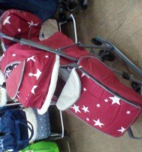 Санки коляска с большимиколесами pikate звезды кр