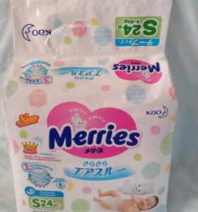 Подгузники Merries, S, на 4-8 кг,24 шт. в упаковке