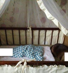 Кроватка + матрац + бортики с балдахином