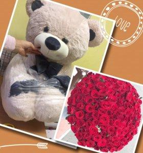 Букет роз и мишка с доставкой спб