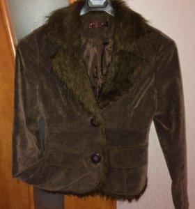 Пиджак вельветовый с мехом