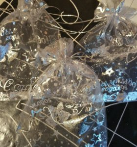 Мешочки для новогодних подарков из органзы.