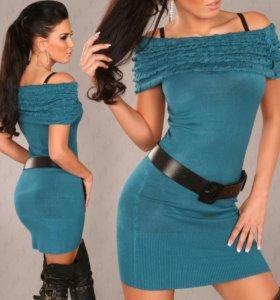 Платье зеленое, лиловое