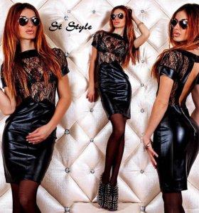Платье новое (гипюр+экокожа)