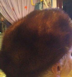 Норковая шапка -беретка коричневая