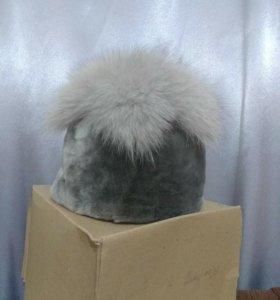 Шапка-овчина-песец