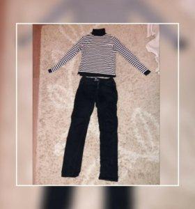 Водолазка и джинсы