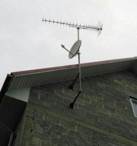 Установка антенн эфирных, спутниковых, интернет.