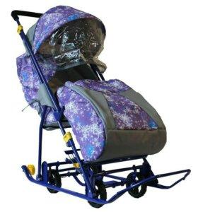 Санки коляска, снежинка