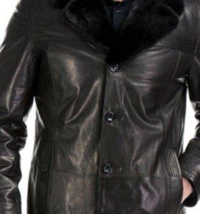 Куртка кожаная с норковым воротником