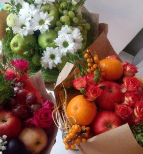 Букеты из фруктов и цветов 🍎