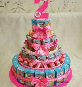 Тортики из сладостей в садик