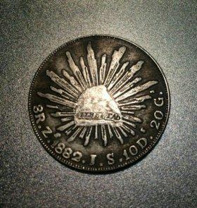 Монета 1882г. Мексика