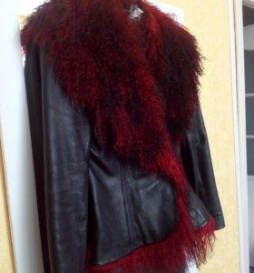 кожаная куртка с меxом ламы