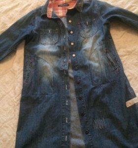 Длинная джинс.рубашка