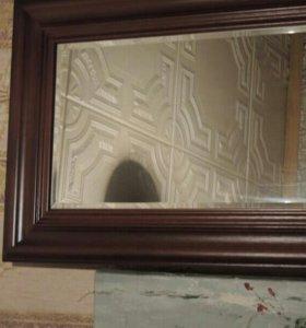 Дверь для шкафа с зеркалом, красное дерево.