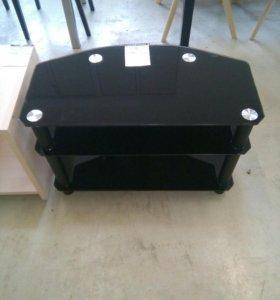 Тумба под ТВ TechUnk (черные ноги, черные стекла)