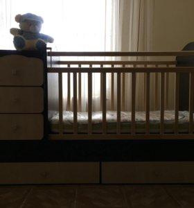 """Кроватка детская """"Фея"""" цвет венге-клён"""
