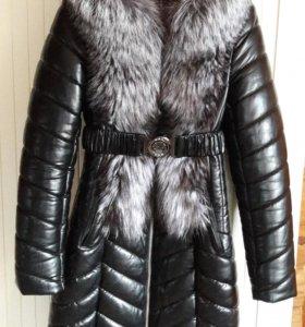 Зимнее пальто эко-кожа
