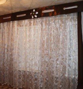 Набор шторы, тюль и ламбрекен