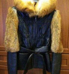 Кожаная куртка с мехом из лисы