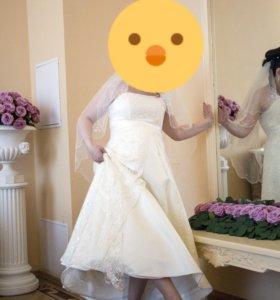 Свадебное платье с шубкой размер 48-50
