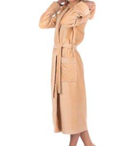 """Махровый женский халат с капюшоном, цвет """"Кофе"""""""