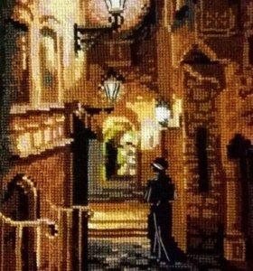 """Вышитая картина """"Ночной квартал"""" (фирма Риолис)"""