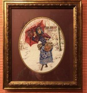 Вышитая картина Девушка под зонтиком