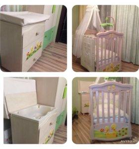 Кроватка+комод-пеленальный стол+ванночка MIBB