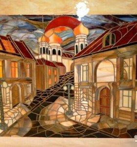 Витражи тиффани, ручная роспись на рулонных шторах