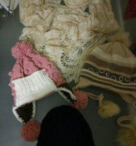Шапки, длинный шарф-палантин вязаный