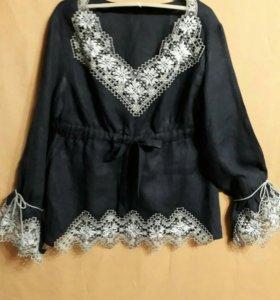 Блузка льняная с вышивкой