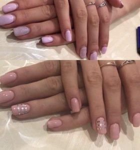 Маникюр-гель лак-наращивание ногтей(гель)