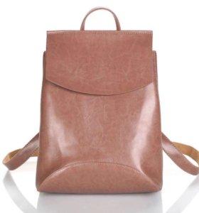 Рюкзак женский кожаный темно-розовый бежевый