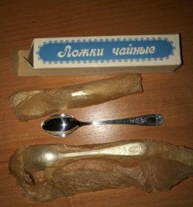 Чайные ложки СССР посеребренные новые