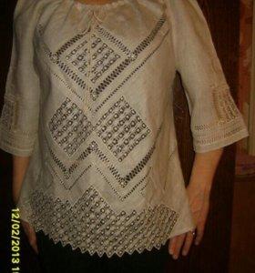Блузка лен 100% с вышивкой