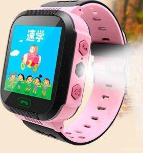 Детские gps часы розовые фонарик и камера