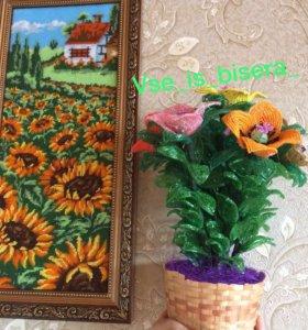 Цветы из бисера , ручная работа 🌺