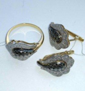 Серьги и кольцо золотые с бриллиантами