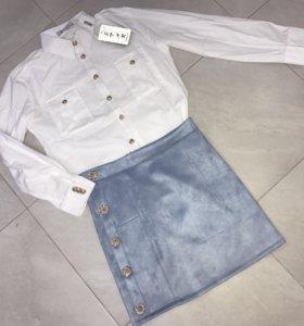 Костюм рубашка + юбка, новый