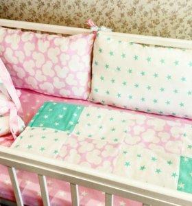 Бортики,постельное белье,одеяло в детскую кроватку
