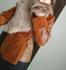 Куртка из овчины и кожи.