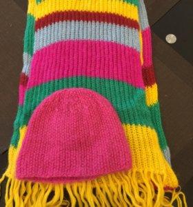 Новые! вязанная шапка и длинный шарф